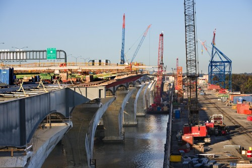 Wilson Bridge: Construction on the replacement of the Woodrow Wilson Bridge. Photo courtesy of the Wilson Bridge Project.