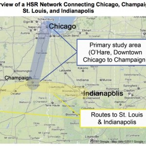 Figure 1. Overview of a HSR Network Connecting Chicago, Champaign,  St. Louis, and Indianapolis