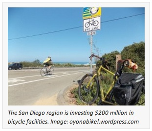 The San Diego region is investing $200 million in bicycle facilities. Image: oyonabike!.wordpress.com