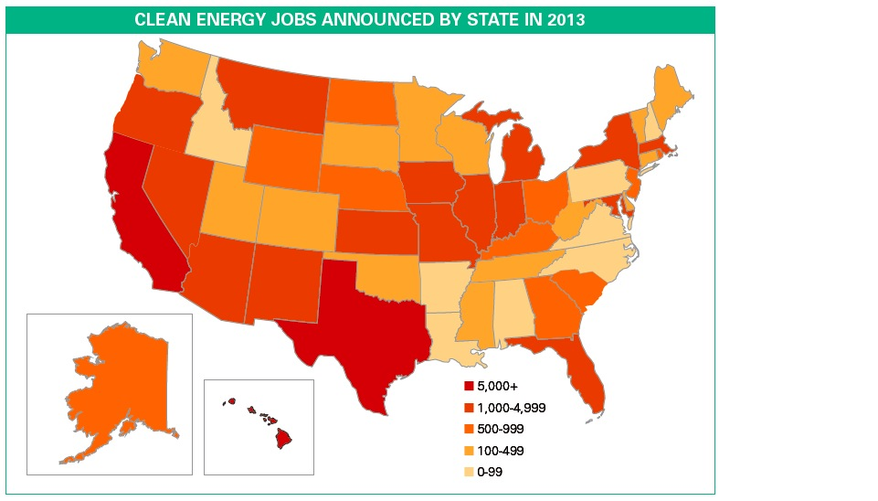 CLEAN ENERGY JOBS ANNOUNCED BY STATE IN 2013