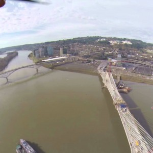 Portland, OR: Aerial View of Suspension Bridge Construction