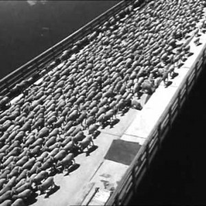 Retro Infra: Sheep Crossing the Grand Coulee Dam, WA
