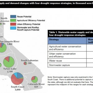 Figure 2. Total water supply and demand changes with four drought response strategies, in thousand acre-feet per year, by hydrologic region