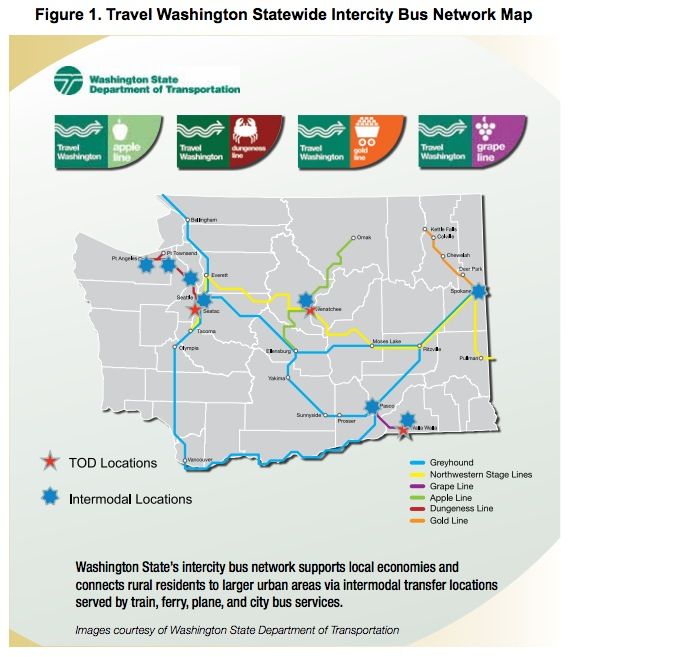 Figure 1. Travel Washington Statewide Intercity Bus Network Map