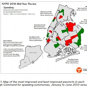Image 1: Map of the most improved and least improved precincts in each Borough Command for speeding summonses, January to June 2013 versus 2014.