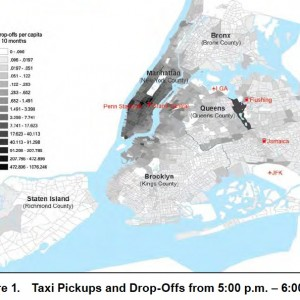 Figure 1. Taxi Pickups and Drop-Offs from 5:00 p.m. – 6:00 p.m.