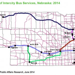 Figure 3.1. Routes of Intercity Bus Services, Nebraska: 2014
