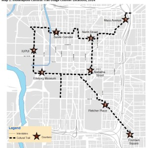 Map 1. Indianapolis Cultural Trail Usage Counter Locations, 2014
