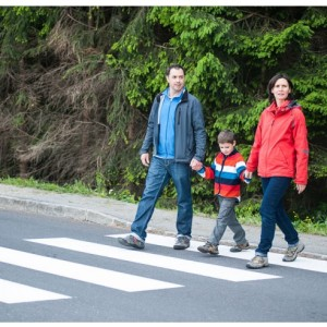 Family on crosswalk