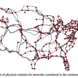 Figure 1: Location of physical conduits for networks considered in the continental United States