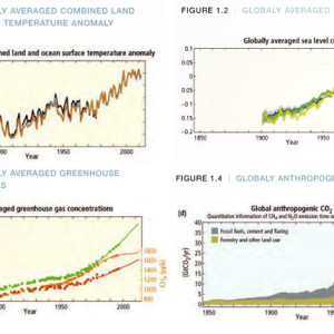 | globally averaged combined land and ocean surface temperature anomaly, globally averaged sea level change, globaly averaged greenhouse gas concentrations, globaly anthropogenic co2 emissions