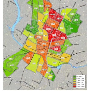 A look at Central Austin bicycle mode share by census tract. American Community Survey 2011 5-Year Composite (Yrs. 2007-2011)