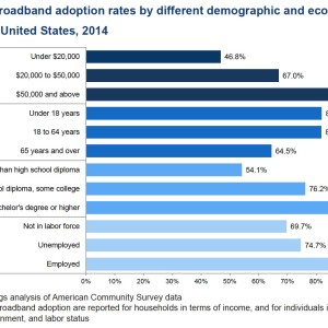 Figure 1. Broadband adoption rates by different demographic and economic indicators, United States, 2014