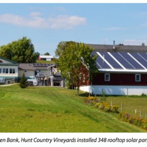 With help from the New York Green Bank, Hunt Country Vineyards installed 348 rooftop solar panels. Credit: Joyce Hunt