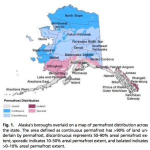 Fig. 1. Alaska's boroughs overlaid on a map of permafrost distribution across the state.