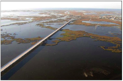 Figure 1: Louisiana State Highway 1 Leading to Port Fourchon (Source: NOAA)