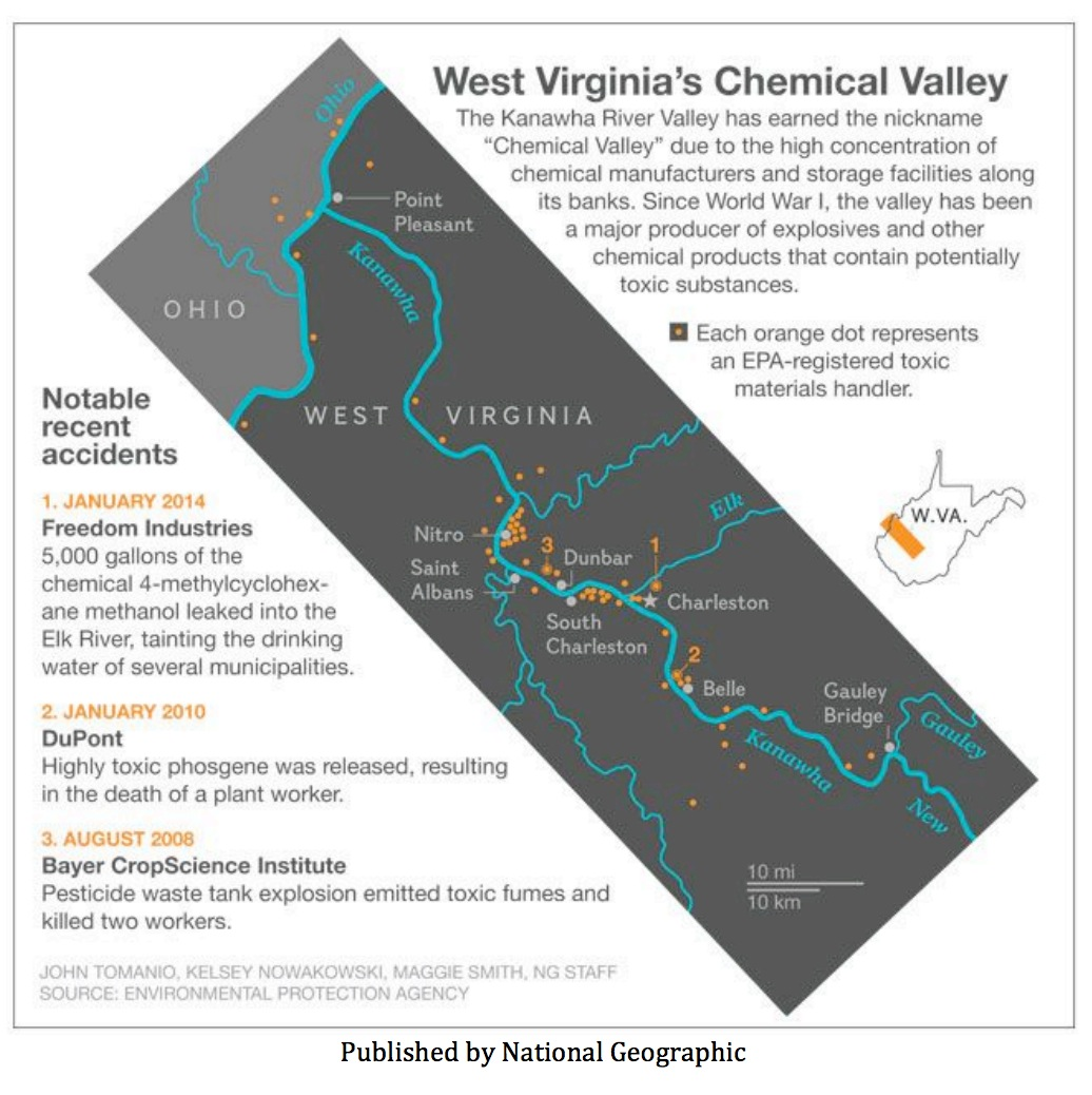 map of recent spills and locations of potential threats to water supplies along the Kanawha and Elk Rivers, which includes Freedom Industries