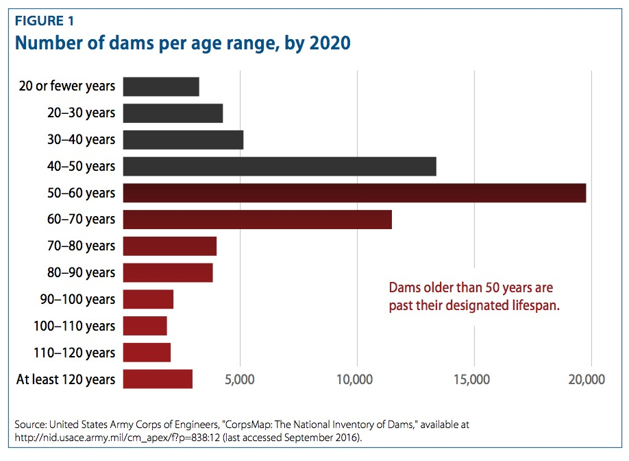 FIGURE 1 Number of dams per age range, by 2020