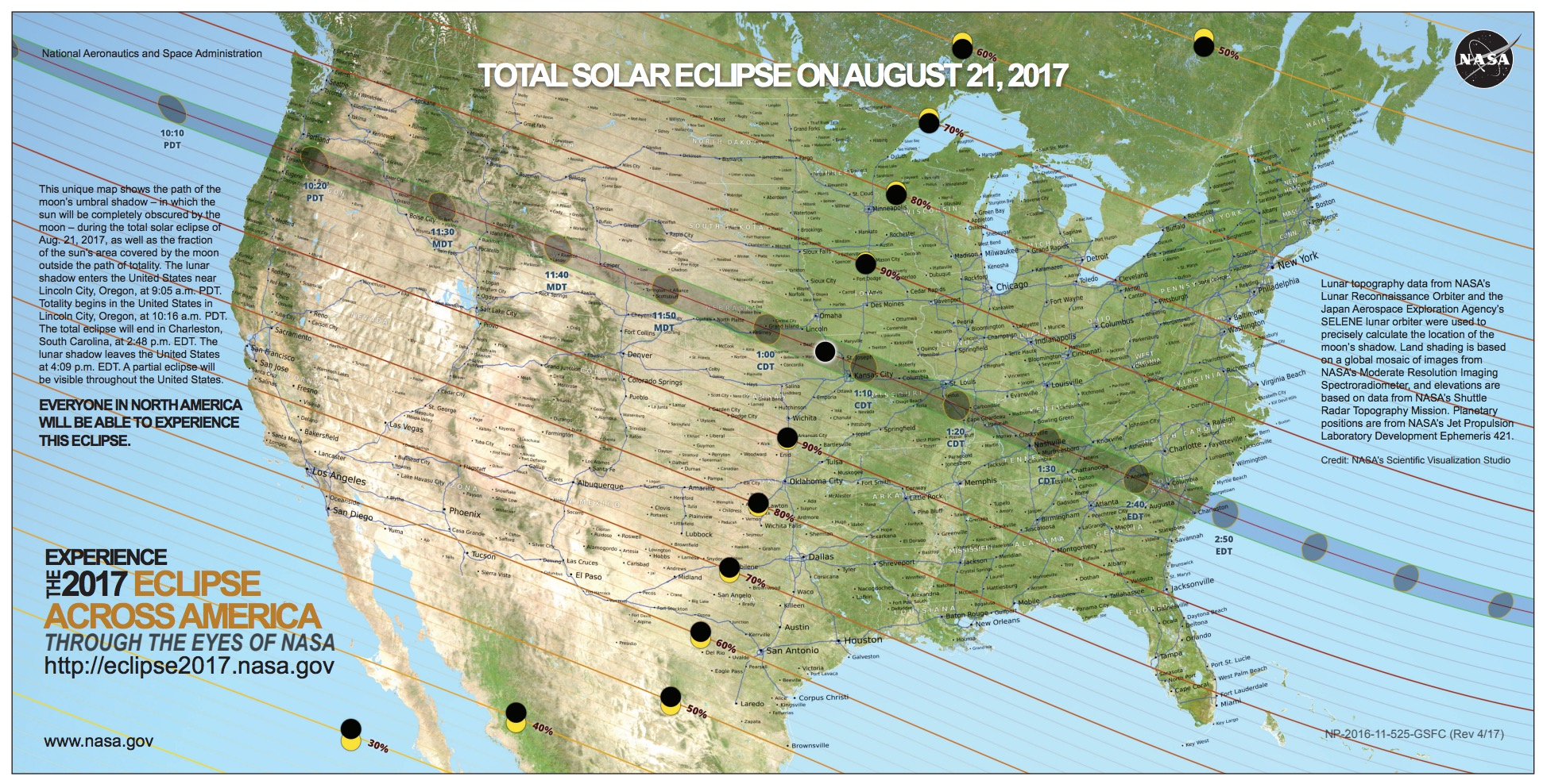 Map of total solar eclipse 2017