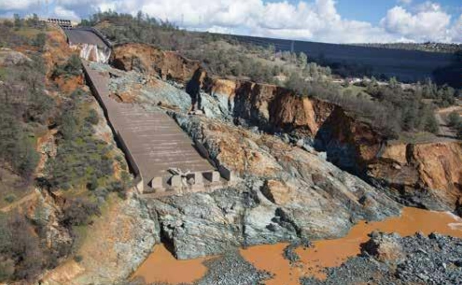 Oroville Dam Spillway Incident: Dam Spillway after incident